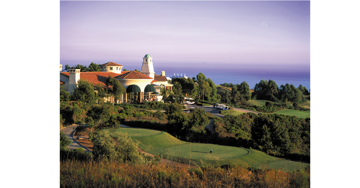 golf course, building and ocean