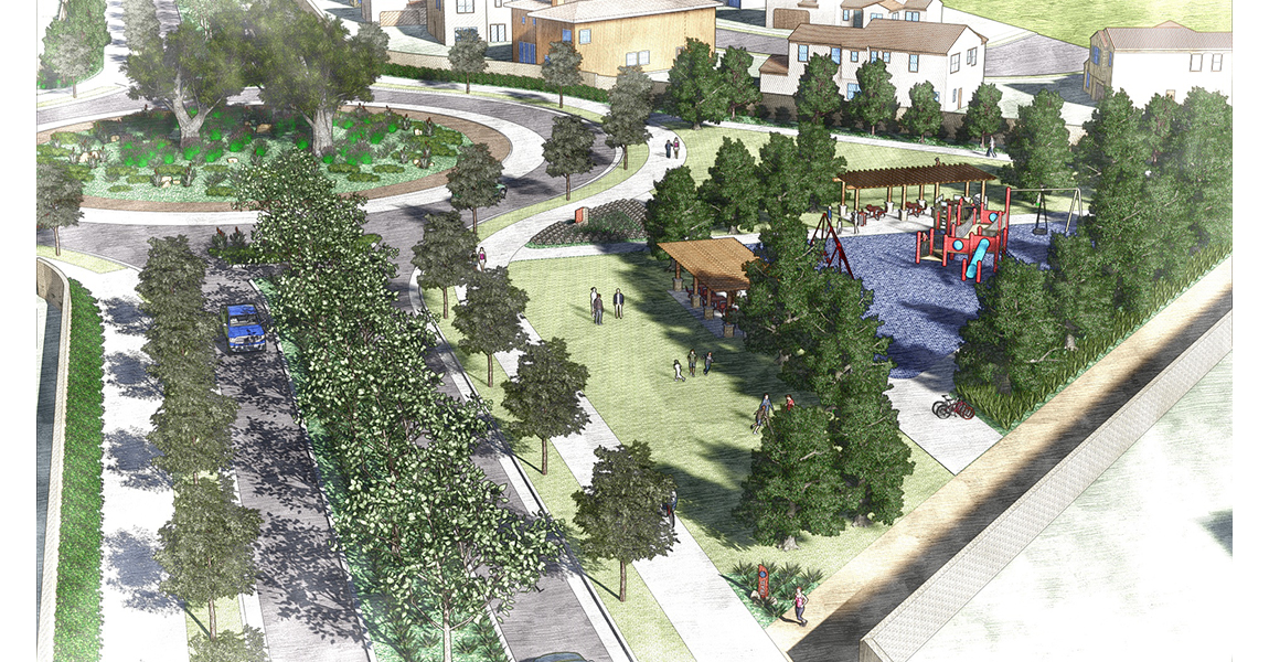 Illustration of neighborhood with trees, playground, and open park