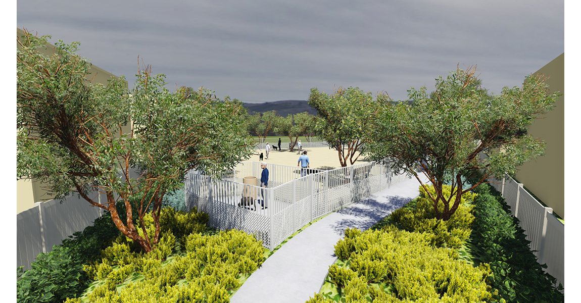 illustration of park with trees, plants and two people