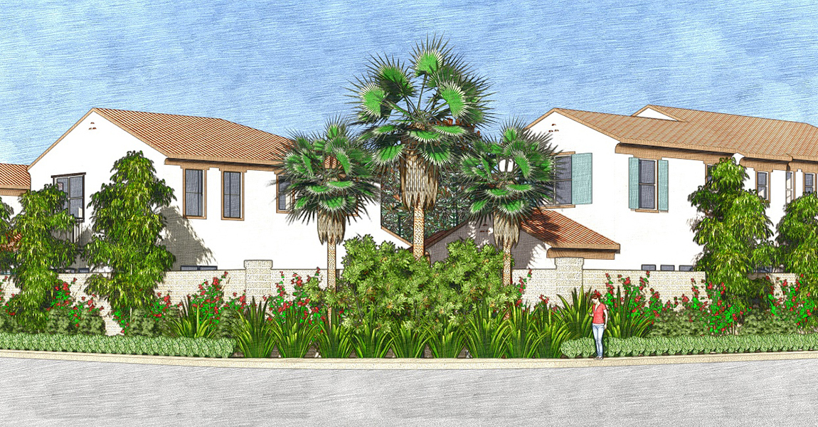 Illustration of two houses and palms trees