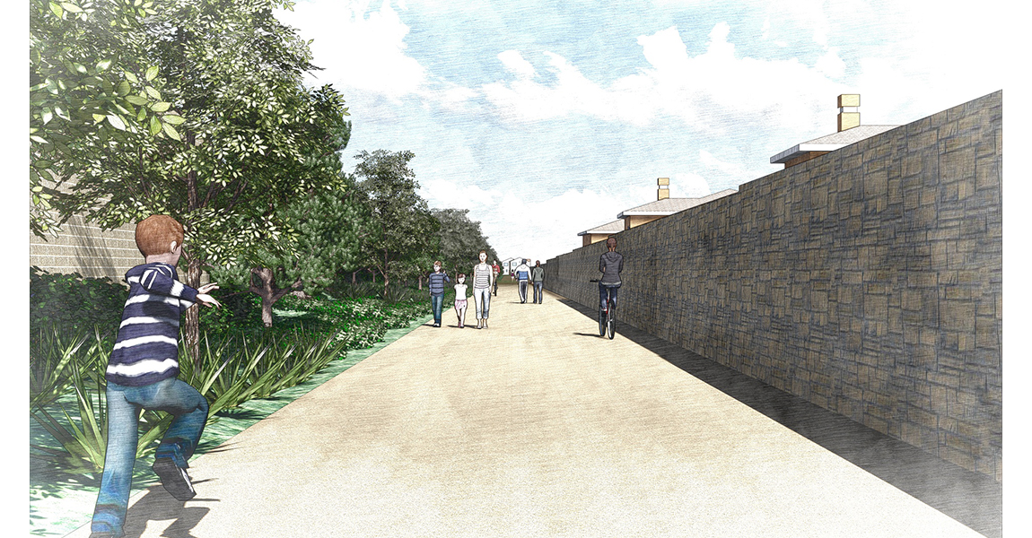 Illustration of walkway with trees and people walking