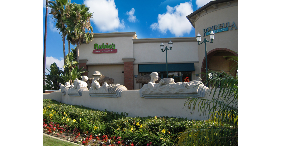 Store front of Rubios with landscape